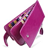 Huztencor Wallet for Women RFID Blocking Leather Credit Card Holder Card Wallet Card Cases Slim Multi Card Organizer Protector Long Wallet Purse Clutch with ID Window Oil Wax Leather Purple