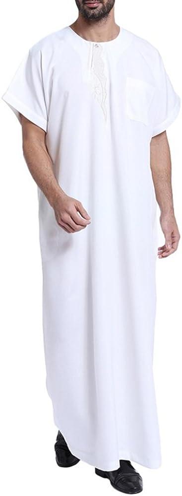 Nuevos Batas de Hombre Musulmanas Casual Traje de Arabia Saudita Masculino Caftan Abaya, Blanco, S: Amazon.es: Ropa y accesorios