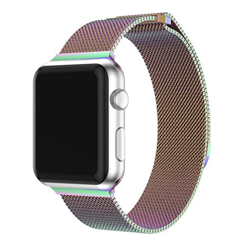 Price comparison product image Blueseao Watch Bands For iWatch 38MM 42 MM, Apple Watch Band Handmade Alloy Crystal Link Steel Bracelet Replacement Strap For iWatch Series 3 2 1 iWatch Band Accessories (Milanese Multicolor, 42 MM)