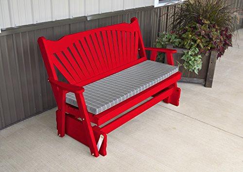 Porch Glider Bench with Fanback Designer Detail - Amish Made in the USA - Comfortable Outdoor Patio Furniture for Porches and Entryways (Chinese Red) by ASPEN TREE INTERIORS