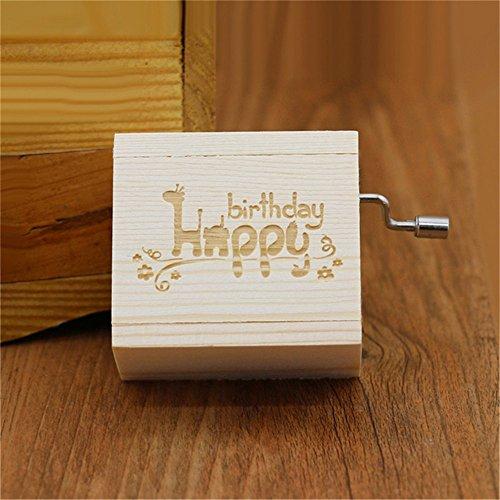 (Biscount Hand Crank Mini Vintage Clockwork Wooden Musical Box Happy Birthday Music Box for Kids Girls Women Gift)
