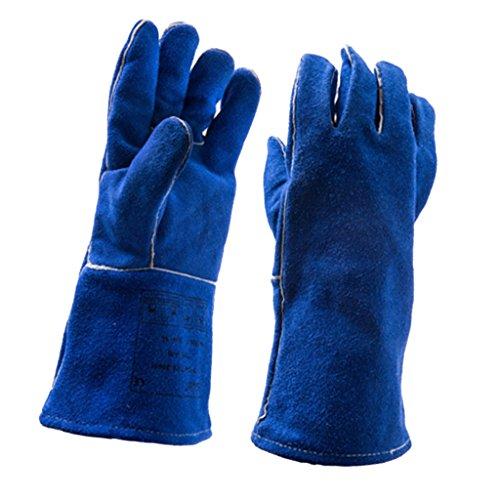 14' Gauntlet Glove - MagiDeal Welding Gloves Heat Wear Resistant Cowhide Leather Hands 14'' Long Sleeves, Blue