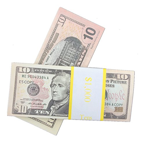 COPY MONEY Total $10, 000 Dollar $10X1000 Pcs FAKE MONEY US Currency Props Advertising & Novelty Real Looking New Style Copy Double-Sided Printing - for Movie, TV, Videos