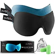 #LightningDeal 95% claimed: 3D Sleep Mask (New Design by PrettyCare with 2 Pack) Eye Mask for Sleeping - Contoured Eyemask Silk - Blindfold Airplane with Ear Plugs,Travel Pouch - Best Night Blinder Eyeshade for Men Women Kids
