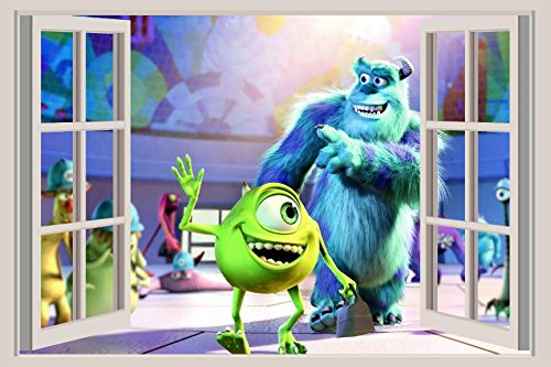 Monsters Inc Sulley Mike 3D Window Wall Decal Pixar Animation Disney Movie 5 ()