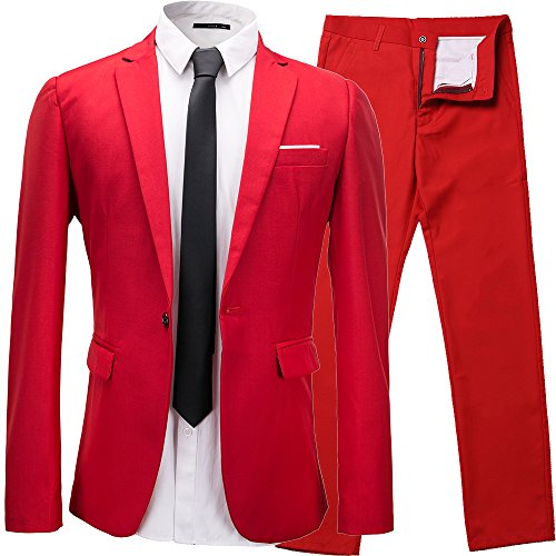 Cheap Suit (TALITARE Men's Slim Fit 2-piece Suit One Button Single-breasted Formal Jacket Pant Set Red XL)