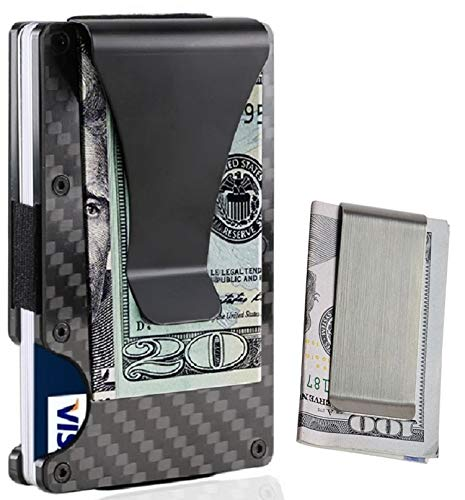 Money Clip, Metal Carbon Fiber Card Holder For Men Slim Ligh