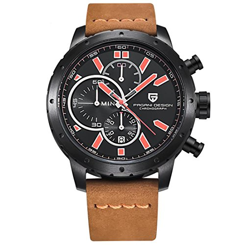 Men's Chronograph Leather Watch Quartz Sport Wristwatch Gift Brown by Pagani Design