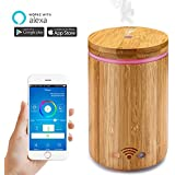 Essential Oil Diffuser Works with Alexa, WiFi Smart Aromatherapy Humidifier Timer Remote Contorl via Phone, Real Bamboo Wood RGB Night Light Air Purifier, 160ml Capacity