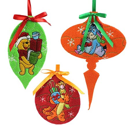 set of three felt disney winnie the pooh christmas decorations - Winnie The Pooh Christmas Decorations