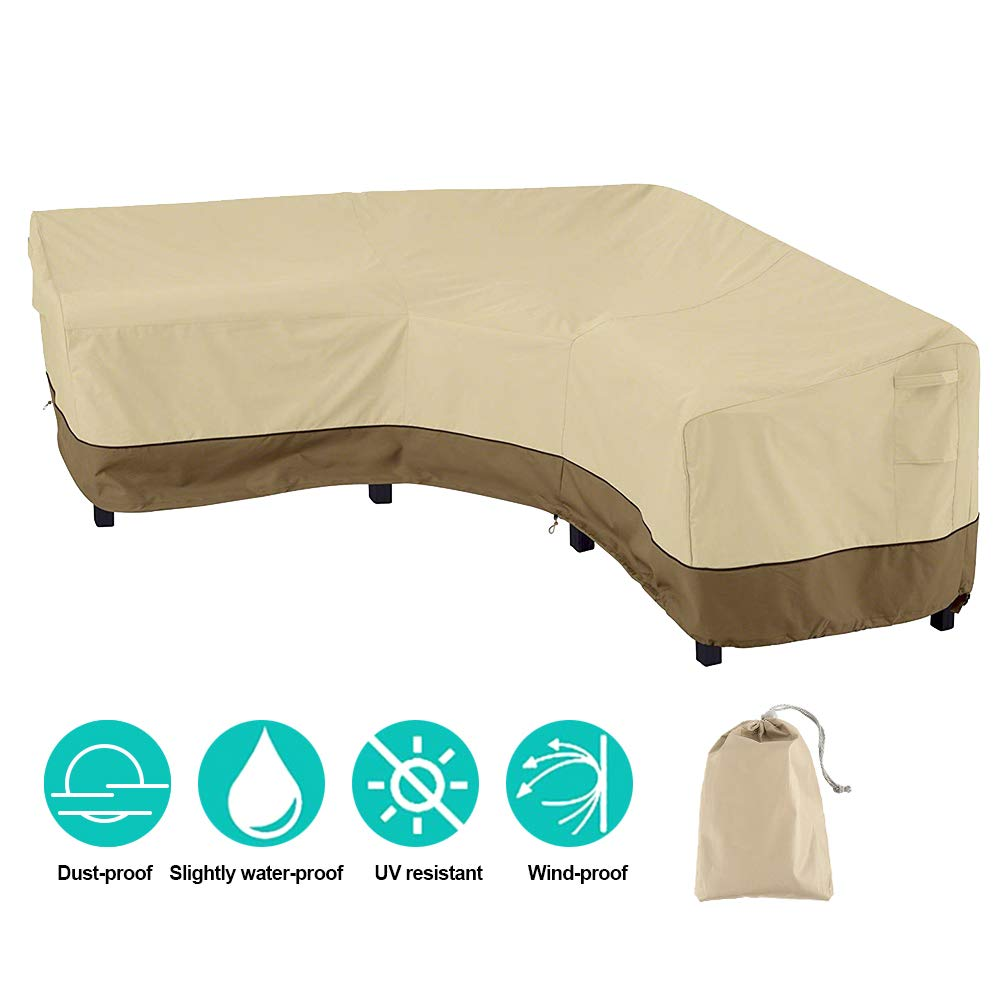 Scorpiuse V-Shaped Patio Sectional Sofa Cover Upgrade Version Waterproof Dust-Proof Outdoor Furniture Cover Garden Couch Cover (V Shaped) by Scorpiuse
