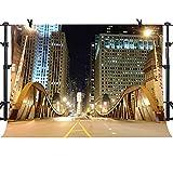 MME 10x7Ft Beautiful Chicago Bridge Downtown Night View Vinyl Party Photo Video Studio Photography NANME391