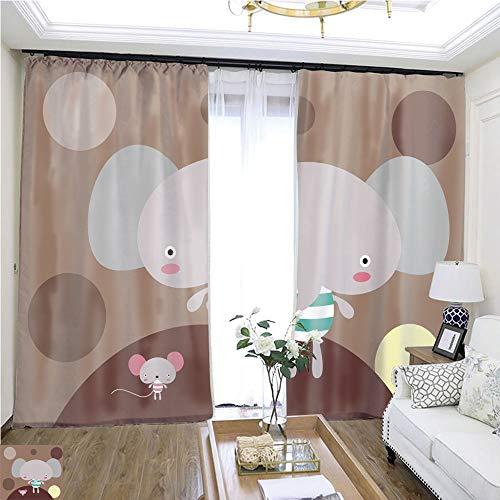 Custom Curtain Cute Elephant and Rat Wallpaper ()