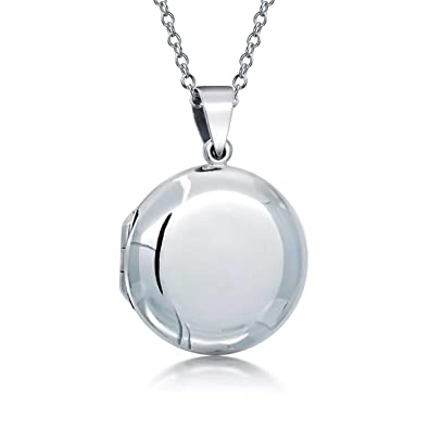 53d56a47ee0 Amazon.com: Personalized Basic Round Locket Pendant 925 Sterling Silver  Necklace For Women Custom Engraved: Jewelry