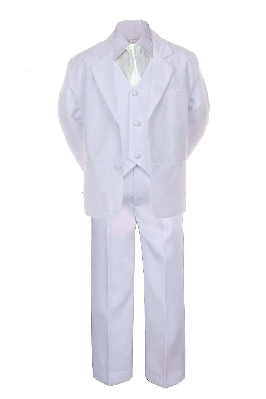 6pc Boy White Vest Wedding Formal Suit Set with Satin Ivory Necktie Sm-20