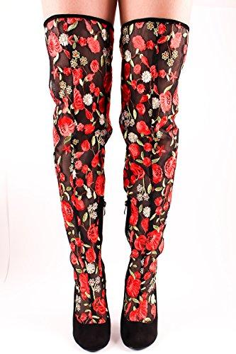 Lolli Couture Marilyn Moda Faux Lær Sydd Motiv Chunky Hæl Uformell Kne Høye Vestlige Støvler Blacknwsuedered-us-003