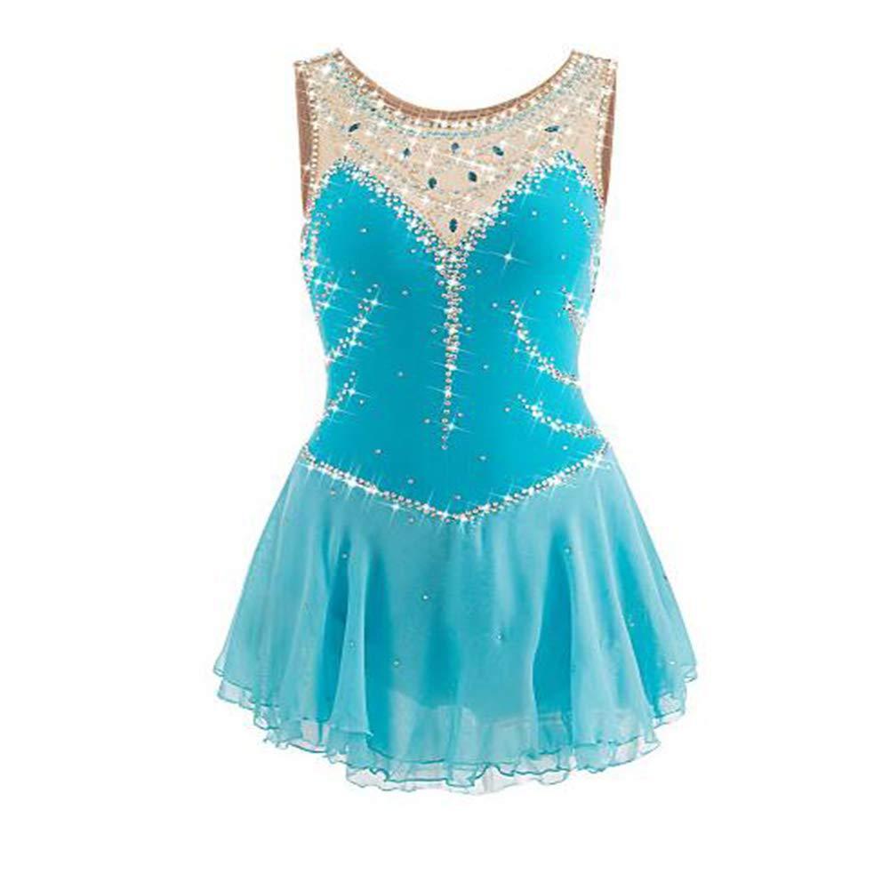 フィギュアスケートドレスの女性の女子アイススケートのドレス水色スパンデックススパンデックス大会スケート手作りの宝石を着用してください L