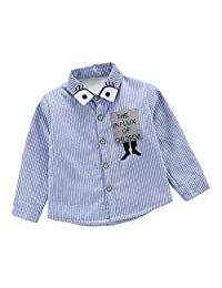 Baby Boys Winter Thick Cartoon Stripe Long Sleeve Button Down Shirts