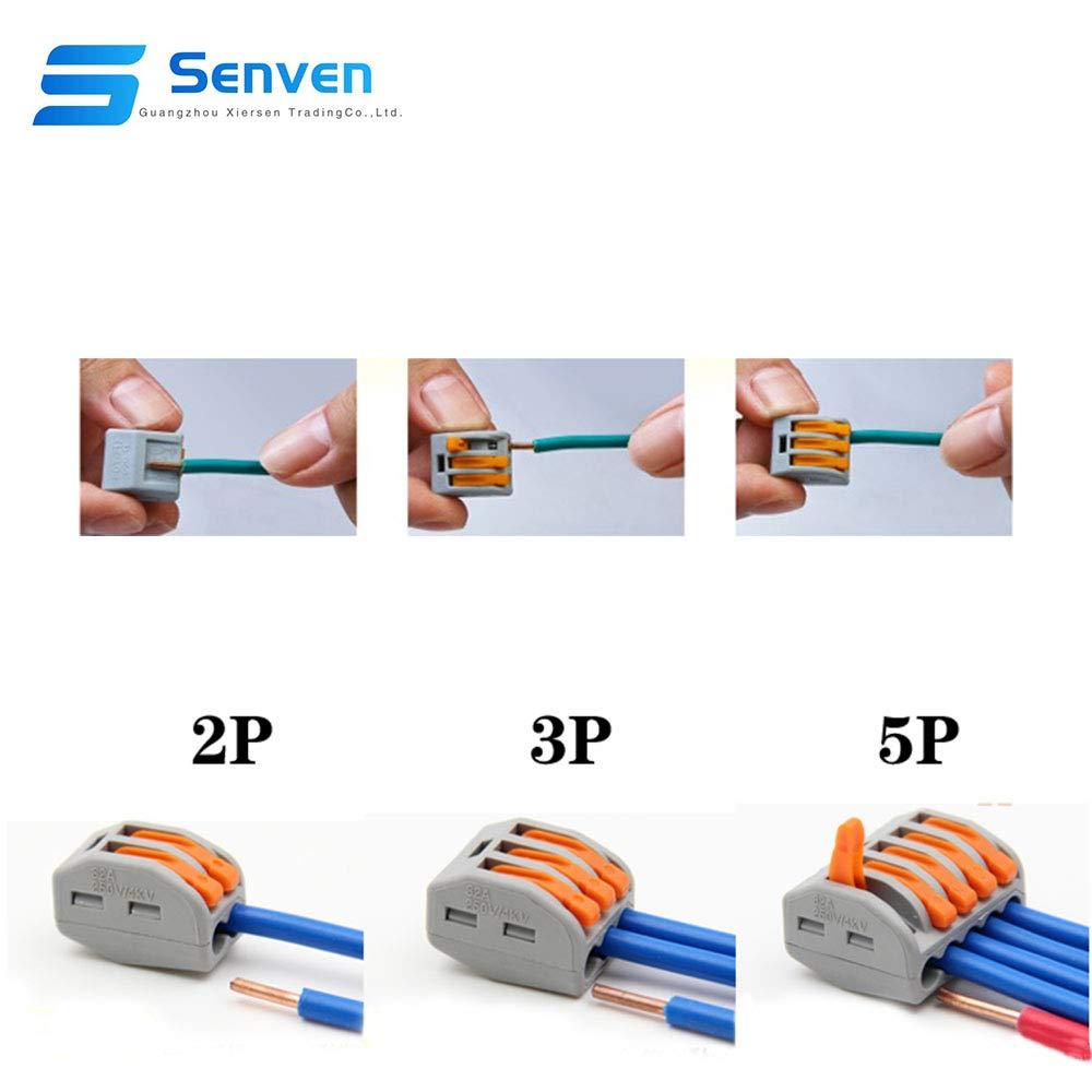 2 puertos 20Pcs 3 puertos 15Pcs 5 puertos 10Pcs Conductor Compacto Cable Conector Senven 45Pcs PCT-212//213//215 Palanca Tuerca Cable Conector Kit Splitter//Combinador de Cables