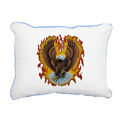 - Rectangular Canvas Throw Pillow Caribbean Blue Eagle with Flames