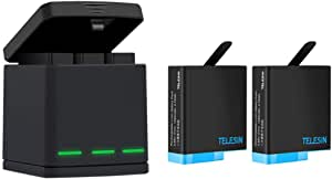 TELESIN Triple Charger Battery Kit, Battery Storage Charging Box with 2 Battery Pack Rechargeable Battery for GoPro Hero 2018, Hero 7 Hero 6 Hero 5 Black Action Camera (Charging Box+2 Battery)