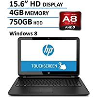 HP 15.6 HD Touchscreen Laptop Computer PC (AMD A8 Quad-Core up to 2.4GHz CPU, 4GB RAM, 750GB HDD, DVDRW, HDMI, USB 3.0, RJ45, WIFI, SD Card Reader, Windows 8.1) (Certified Refurbished)