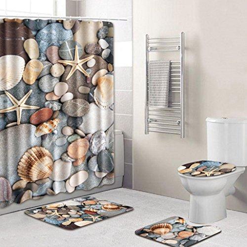 Bearbae 16 Pieces Shower Curtain Set Bathroom Mat Set Contour Mat Toilet Cover Penguins Cute Animals Patten Shower Curtain with 12 hooks