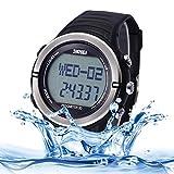 Multifunctional 5ATM Waterproof Sport Watch Digital Wrist Watch with Plastic Band and Luminous Display & Stopwatch & Alarm & Week & Calendar Display Functions for Men (Color : Silver)