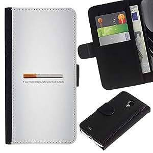 Protector de cuero de la PU de la cubierta del estilo de la carpeta del tirón BY RAYDREAMMM - Samsung Galaxy S4 Mini i9190 - Butt fumadores - Gracioso