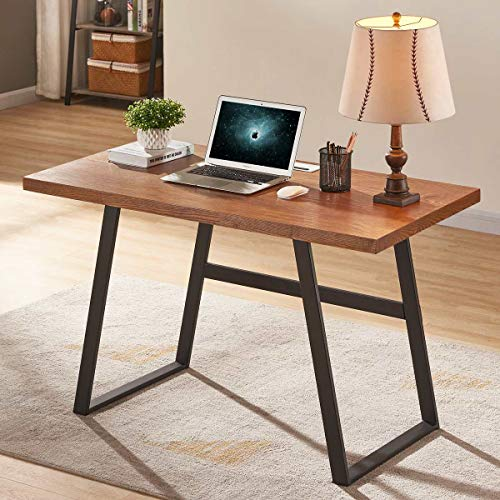 BON AUGURE Wood Computer Desk for Home Office, Rustic Writing Desk, Industrial Desk Table (47 inch, Cherry) ()