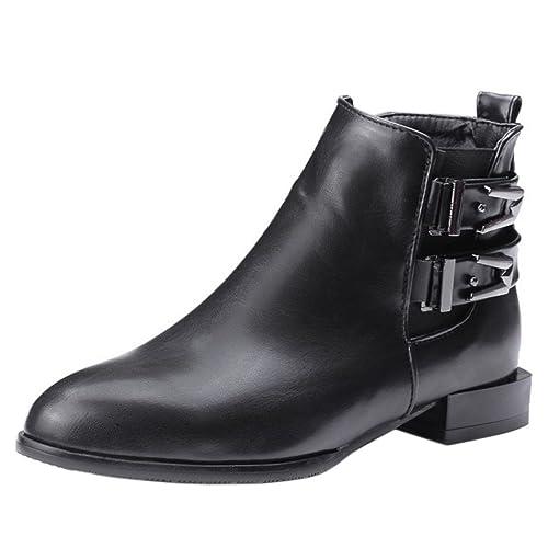 RAZAMAZA Moda Botas al Tobillo Tacon Bajo Estilo Cowgirl Botines para Mujer: Amazon.es: Zapatos y complementos