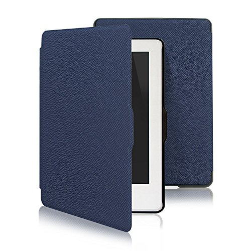 Leafbook  Case for Kindle 8th Generation - Thinnest and Lightest Leather Cover for Amazon All-New Kindle E-reader 6 [Magnetic] [Auto Wake /Sleep] (2016),Dark blue by Leafbook
