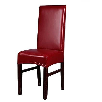 Fundas para sillas de comedor, color sólido, piel sintética, resistente al agua, funda protectora para sala de estar