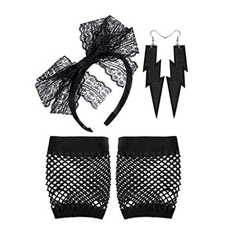 (X Hot Popcorn 80's Neon Lace Headband Earrings Fingerless Fishnet Gloves Women's 80s Costume Accessories 3 Set for 80's)