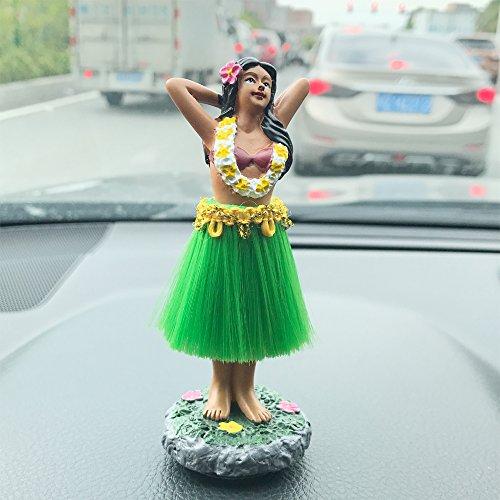 Dashboard hula girl doll Hawaiian Gifts for Decoration,Green Skirt 4.5