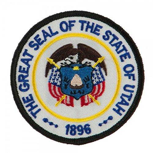 """State Seal Patch Round 3"""" Diameter, Embroidered Iron On or Sew On Seal Patch Flag Emblem (Utah State Seal)"""