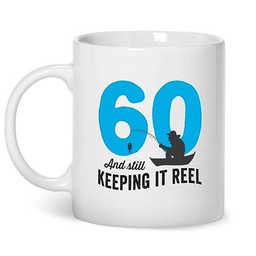 60th Birthday, taza de la pesca, carrete de mantenerlo, 60 ...