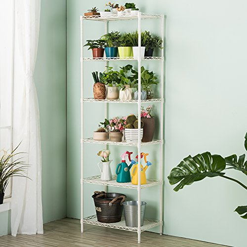 LANGRIA 6 Tier Wire Shelving Unit Organization and Storage Rack with 5 Hooks, White (Interlocking Metal Shelf)
