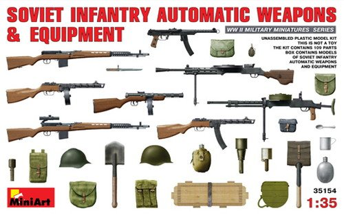 1:35 Soviet Infantry Automatic Weapons And Equipment Plastic Model Kit