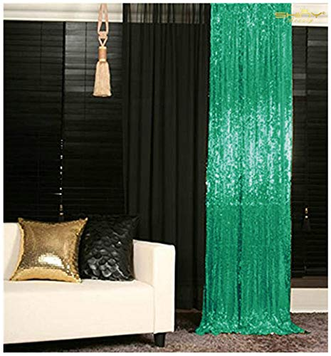 - Pack of 2 Green Backdrop 2FTx7FT Curtain Chiristmas Green Sequin Photo Backdrop Glitter Backdrop Y1023