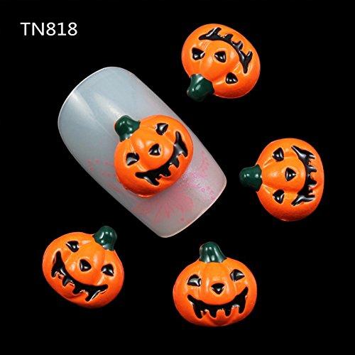 10pcs/pack New Design Halloween Pumpkin 3D Metal Nail Art Decorations DIY Silver Alloy Studs Supplies For Nails -