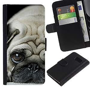 eJoy---La carpeta del tirón la caja de cuero de alta calidad de la PU Caso protector - Samsung Galaxy S6 - --Pug Puppie Sad Tiny Dog Breed Canine