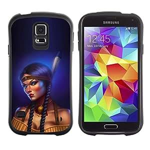 All-Round híbrido de goma duro caso cubierta protectora Accesorio Generación-I BY RAYDREAMMM - Samsung Galaxy S5 SM-G900 - Indian Woman Feather Long Braid Boobs