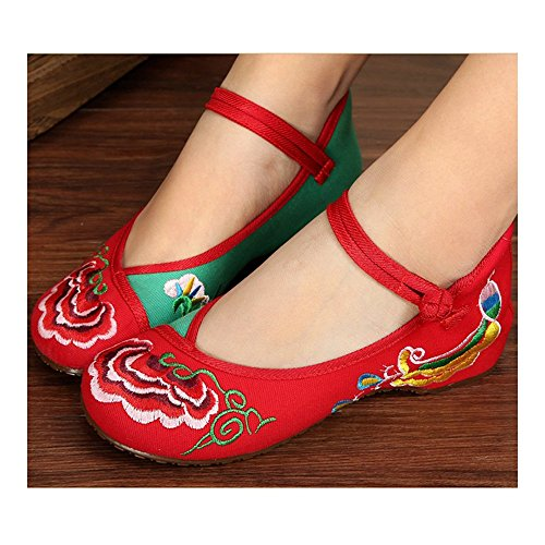 green Embroidered Shoes Old red Casual 35 Beijing Cloth rqttFwYE