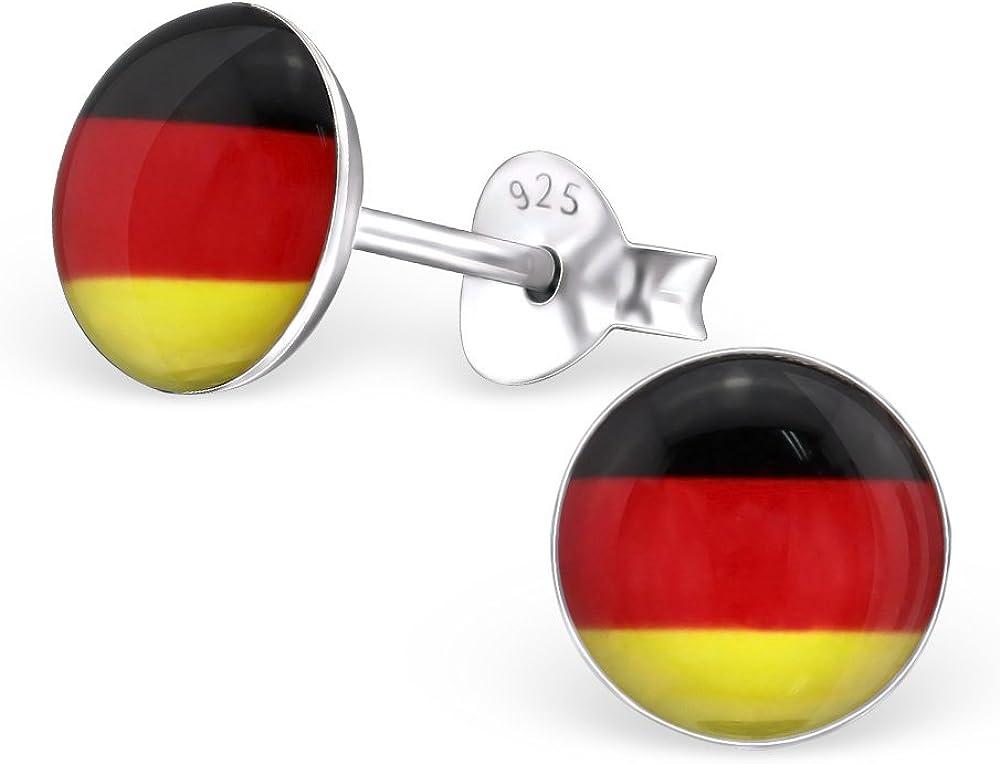 Bandera de Alemania laimons – Pendientes para mujer diseño placa plata de ley 925: Amazon.es: Joyería