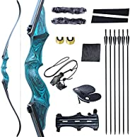 """Black Hunter Original Recurve Bows Bow and Arrow for Adults Hunting Bow Archery Bow 60"""" 20-60lbs Right Ha"""
