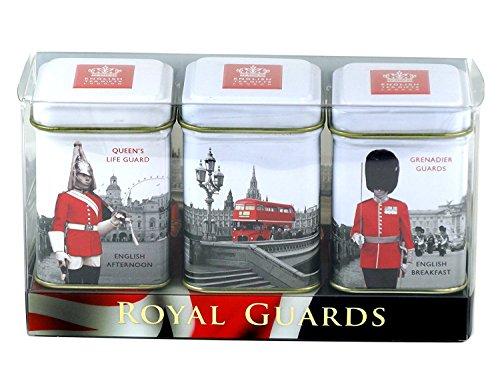 English Tea Caddy - English Tea Mini Caddy Gift Set, Royal Guards - 3 x 25g Tea Caddies Gift Pack