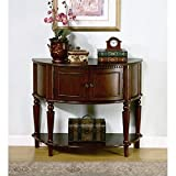 "Dimensions: 38""L x 14.5""W x 31.625""H. Finish: Brown. Material: Wood. Traditional Brown Finish Storage Entry Way Console Table/Hall Table. Hall table crafted from solid wood and veneer construction. Features 2-Door Cabinet for storage. Some As..."
