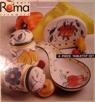 Hand-Painted Ceramic Salt & Pepper/Spoon Rest/Napkin Holder Set, Tuscan Design ()