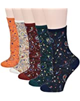 Fitu Women's Vintage Style Floral Crew Cotton Socks 5 Pairs Pack in Gift Box